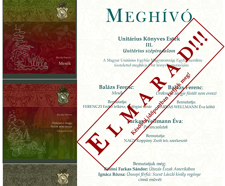 Unitárius Könyves Esték III. ELMARAD!!!