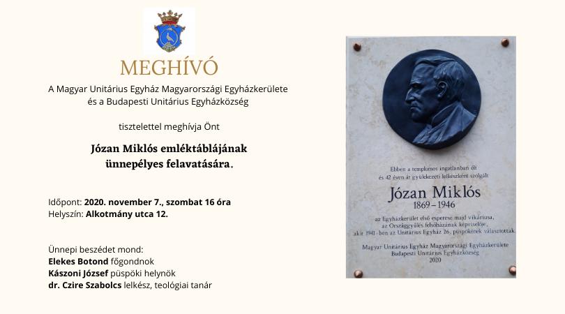 Józan Miklós emléktábla avatás